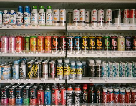 Drinks on a shelf